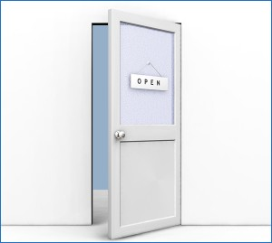 Clipart Illustration of an Open Office Door With An Open Sign Ha