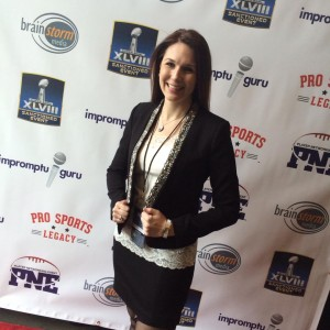 Impromptu Guru owner Jill Schiefelbein on the red carpet at the 14th annual NFL Player Networking Event in New York City, February 1, 2014